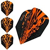 HARROWS Rapide X Dart Flights, 100 Micron – STD orange – 5 sets (15) – mit Darts Ecke gebogen Kugelschreiber