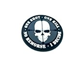One Shot One Kill No Remorse I Decide Sniper PVC Airsoft Paintball Klett Emblem Abzeichen