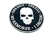 One Shot One Kill No Remorse I Decide Sniper Schwarz PVC Airsoft Paintball Klett Emblem Abzeichen